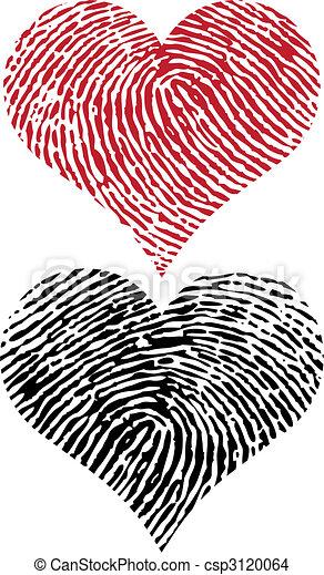 Herzen Fingerabdruck Herz Gestaltet Vektor Fingerabdruck