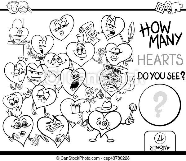 Herzen, zählen, färbung, seite. Erzieherisch, färbung, liebe ...