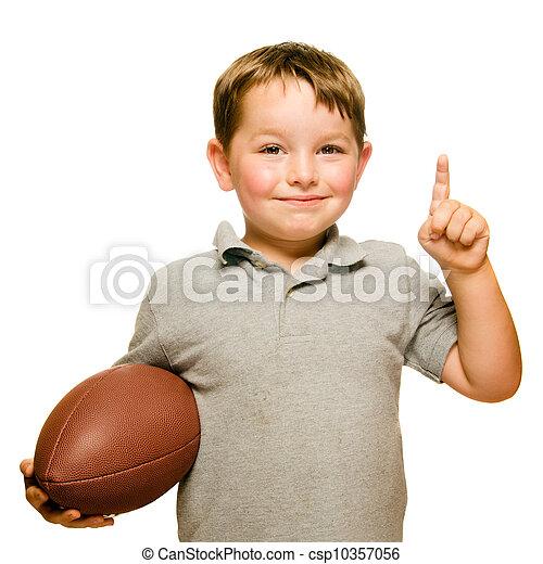 he's, het tonen, voetbal, vrijstaand, nummer 1, vieren, kind, witte  - csp10357056