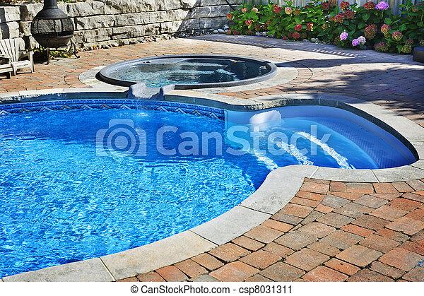 het badkar, slå samman, simning - csp8031311