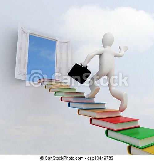 het beklimmen van stairs, kennis, succes, zakenman - csp10449783