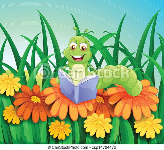 het boek van de lezing, tuin, worm - csp14784472