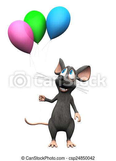het glimlachen, balloons., muis, spotprent, vasthouden - csp24850042