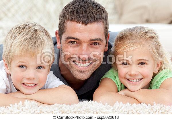 het glimlachen, fototoestel, papa, kind - csp5022618