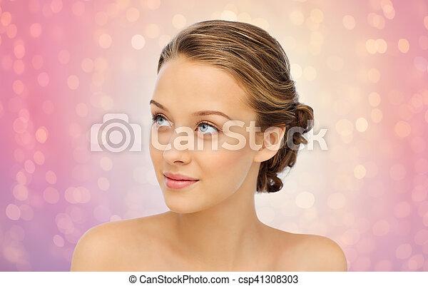 het glimlachen, schouders, vrouw, jonge, gezicht - csp41308303