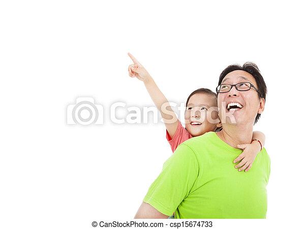 het kijken, vader, dochter, wijzende, vrolijke  - csp15674733