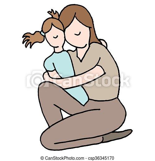 het koesteren, dochter, jonge, haar, moeder - csp36345170