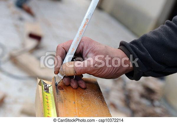 het meten, aannemer, hout - csp10372214