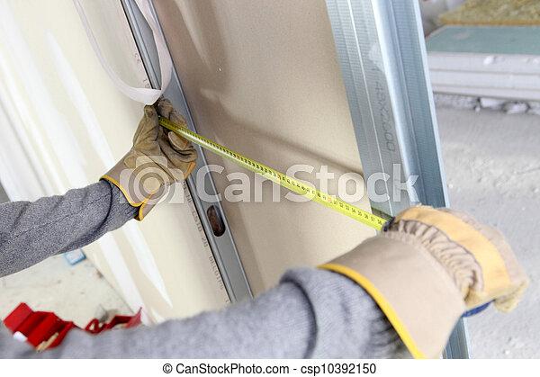 het meten, muur, bekwame werker - csp10392150