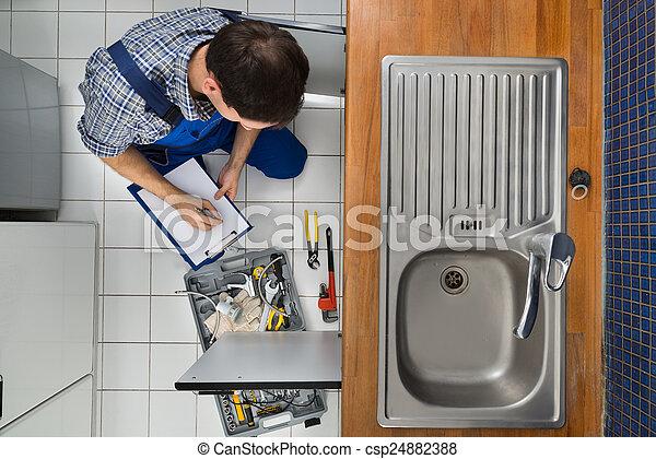 het onderzoeken, installatiebedrijf, zinken, keuken - csp24882388