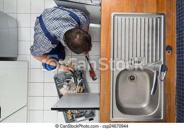 het onderzoeken, installatiebedrijf, zinken, keuken - csp24670944