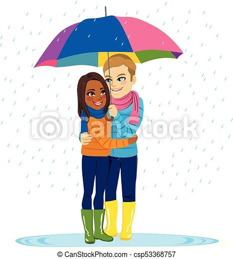 het regenen, paar, romantische - csp53368757