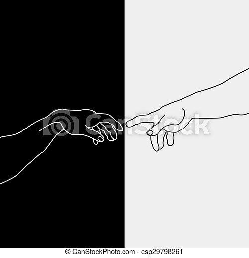 het tonen, creatie, adam, handen - csp29798261