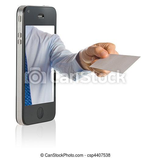 het tonen, leeg, kaart, zakelijk, hand - csp4407538