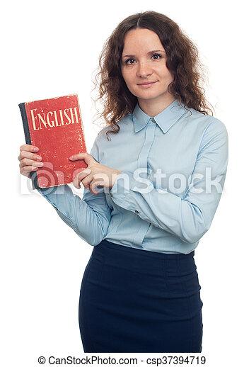 het tonen, vrijstaand, textbook., mooi, engelse , meisje - csp37394719
