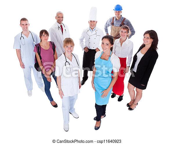 het vertegenwoordigen, beroepen, anders, groep, mensen - csp11640923