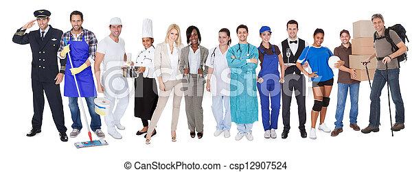 het vertegenwoordigen, beroepen, anders, groep, mensen - csp12907524