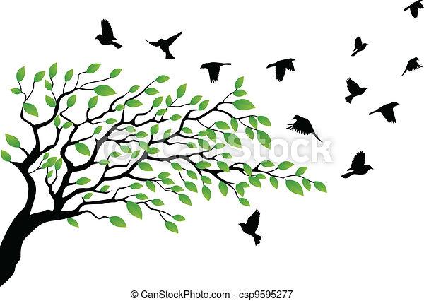 het vliegen van de vogel, silhouette, boompje - csp9595277