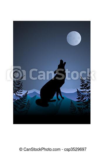 heulen, nacht, wolf, hintergrund, mond - csp3529697