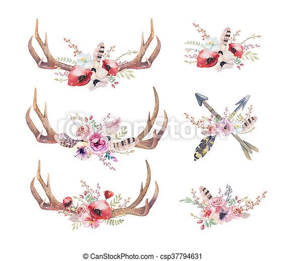 heup, hertje, mammals., watercolour, watercolor, boheems, westelijk, horns. - csp37794631