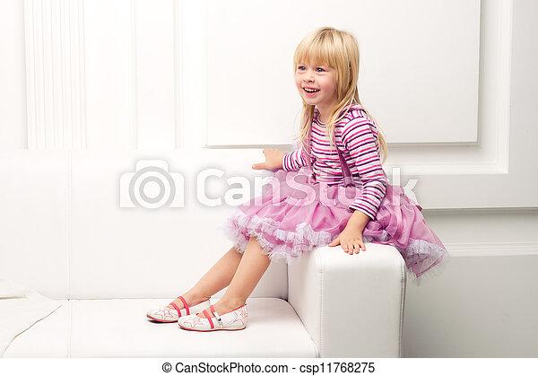heureusement, sofa, peu, poser, girl - csp11768275