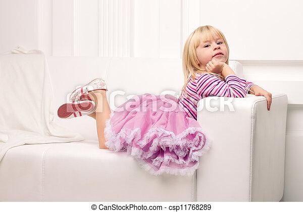 heureusement, sofa, peu, poser, girl - csp11768289