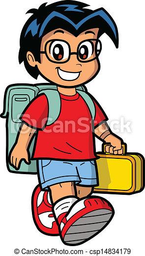 Ecolier heureux, écolier. porter, boîte, écolier, jeune, caucasien, déjeuner