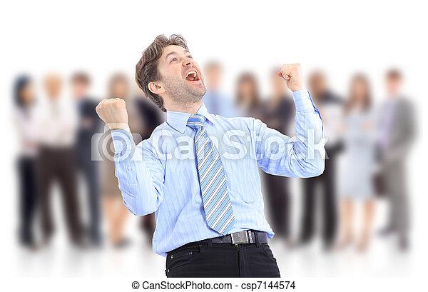 heureux, énergique, homme affaires - csp7144574