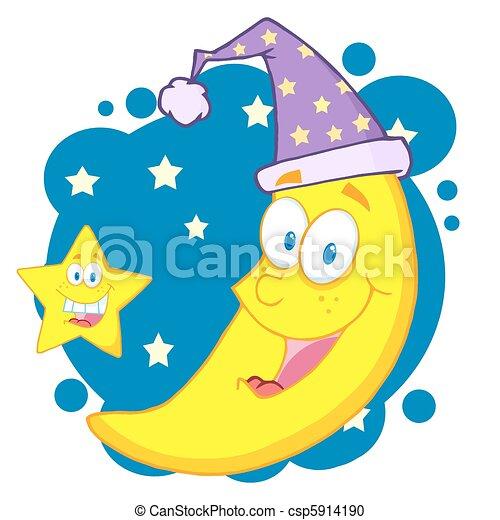 heureux, étoile, lune - csp5914190
