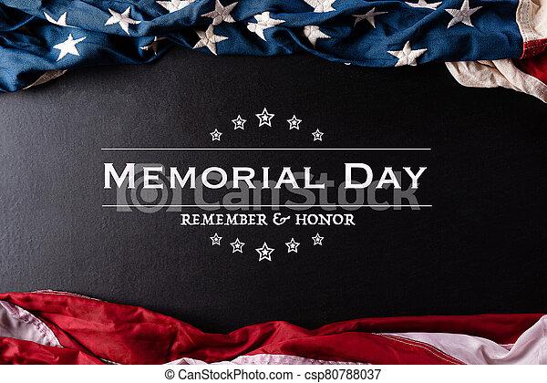 heureux, arrière-plan., contre, honneur, texte, mai, américain, &, noir, rappeler, commémoratif, drapeaux, day., 25. - csp80788037