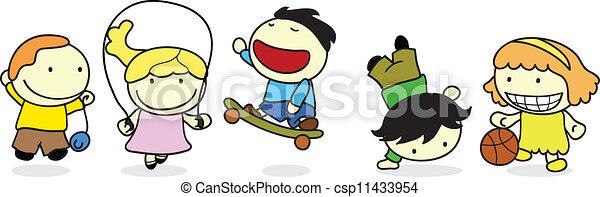 heureux, enfants, activité - csp11433954