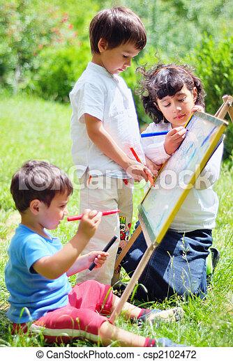 heureux, enfants, dessin, jouer - csp2102472