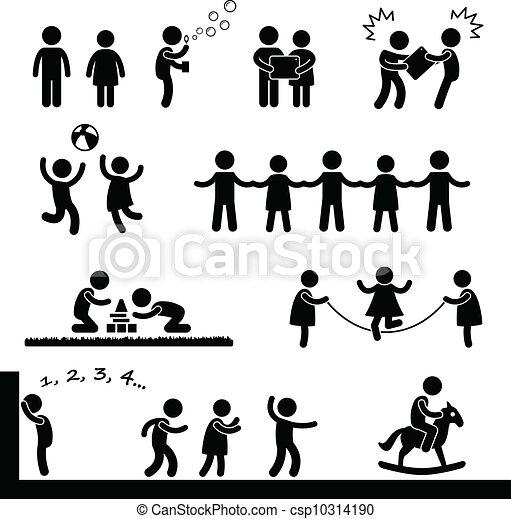 heureux, enfants jouer, pictogramme - csp10314190