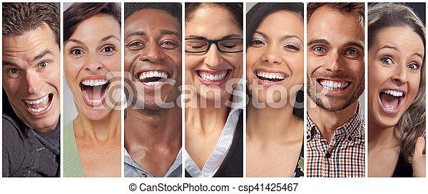 heureux, ensemble, fait face gens - csp41425467