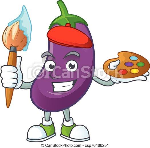 heureux, icône, dessin animé, brosse, peintre, aubergine - csp76488251