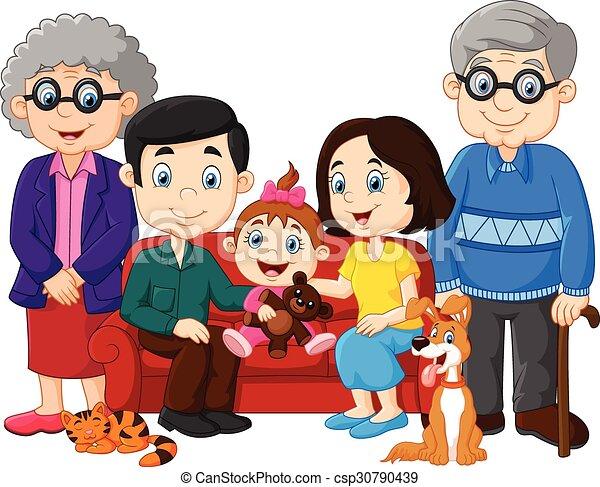 Heureux isol famille dessin anim famille isol - Dessin anime de la famille pirate ...
