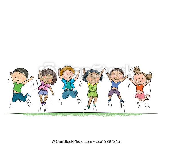 heureux, jumping., enfants - csp19297245