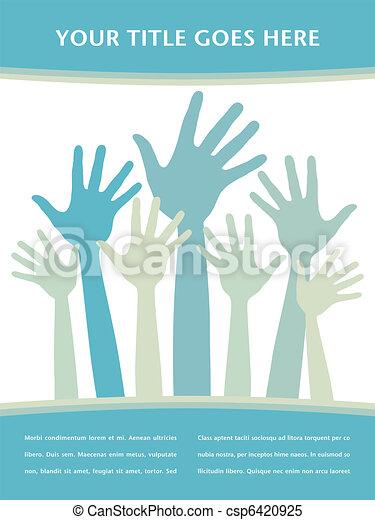 heureux, mains, design. - csp6420925