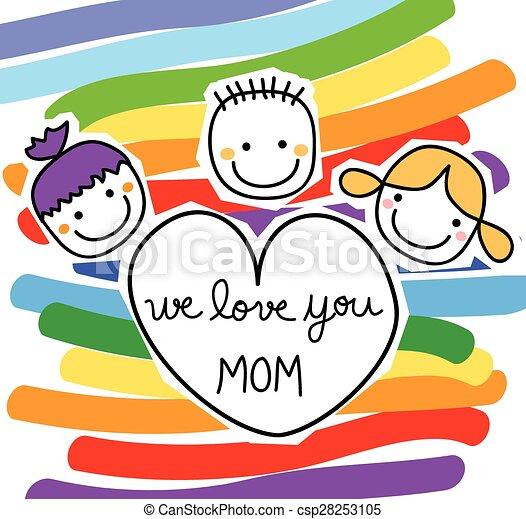 heureux, message, gosses, jour, mères - csp28253105
