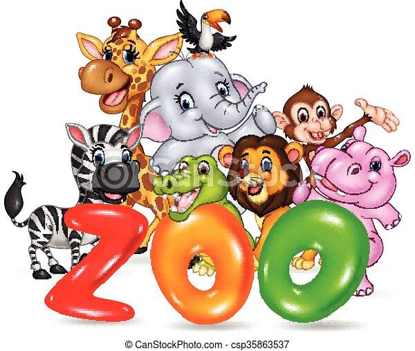 Heureux Mot Dessin Anime Animal Zoo Mot Afrique Illustration Zoo Vecteur Animal Sauvage Dessin Anime Heureux Canstock