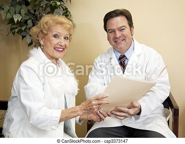 heureux, patient, docteur - csp3373147
