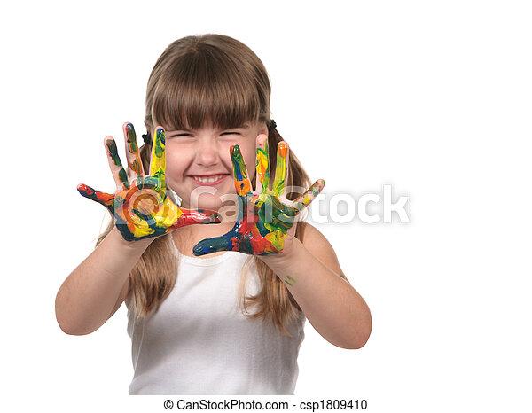 heureux, peinture, doigt, enfant préscolaire - csp1809410