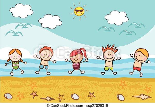 heureux, plage, jouer, enfants - csp27029319