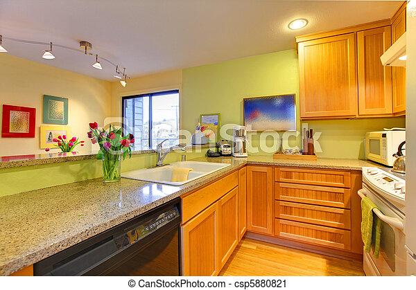Heureux printemps vert jaune fleurs cuisine photographie de stock rechercher images et - Cuisine jaune et verte ...
