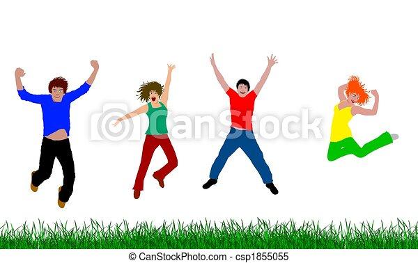 heureux, sauter, gens - csp1855055