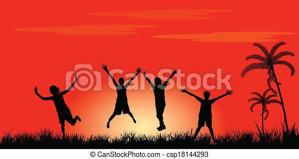 heureux, sauter, gens - csp18144293