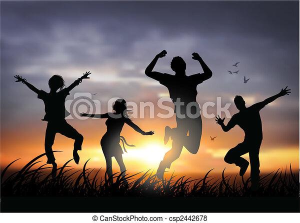 heureux, sauter, gens - csp2442678