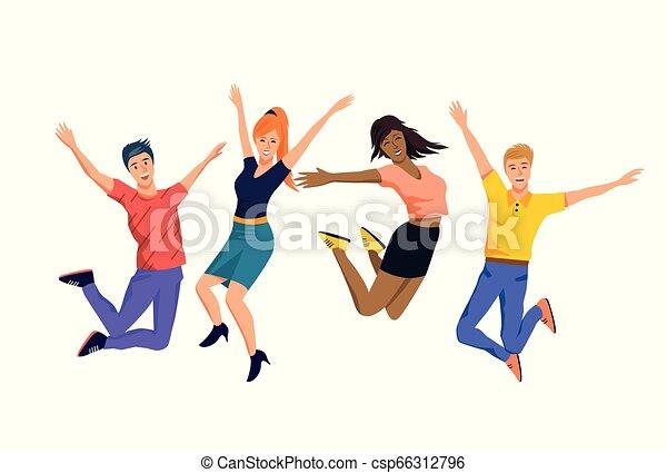 heureux, sauter, groupe, gens - csp66312796