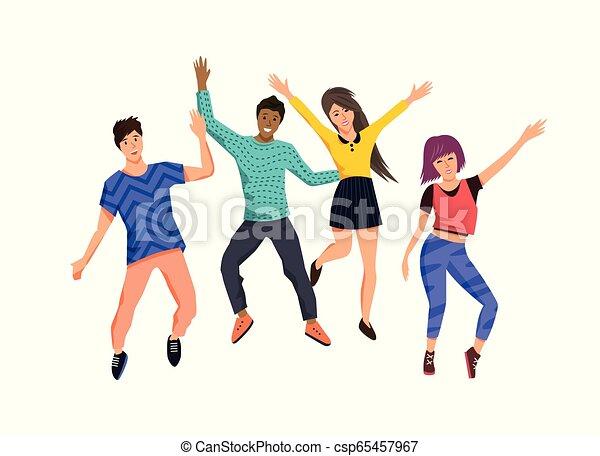 heureux, sauter, groupe, jeunes - csp65457967