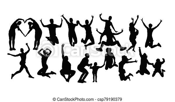 heureux, sauter personnes, silhouettes - csp79190379